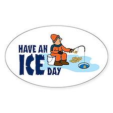 Ice Fishing Oval Decal