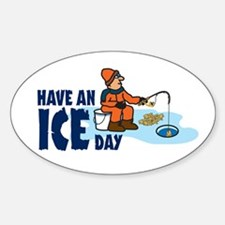 Ice Fishing Oval Decal