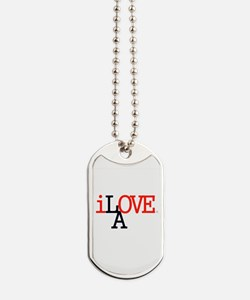 i Love LA Iconic RedBlk Lrg Los Angeles Dog Tags