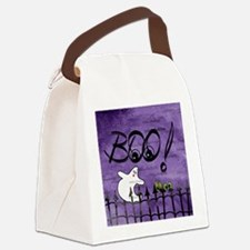 Blue-eyed Halloween Ghost Saying  Canvas Lunch Bag
