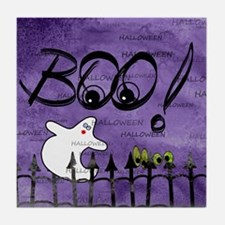 Blue-eyed Halloween Ghost Saying BOO Tile Coaster