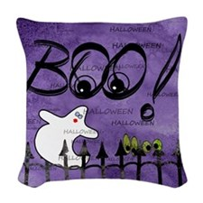 Blue-eyed Halloween Ghost Sayi Woven Throw Pillow