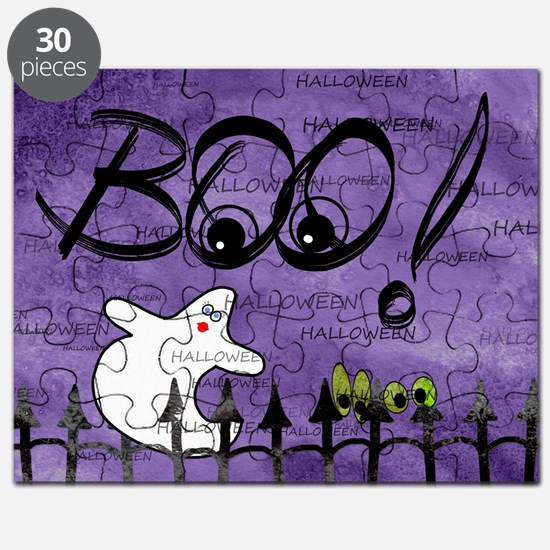 Blue-eyed Halloween Ghost Saying BOO Puzzle