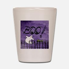 Blue-eyed Halloween Ghost Saying BOO Shot Glass