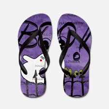 Blue-eyed Halloween Ghost Saying BOO Flip Flops