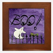Blue-eyed Halloween Ghost Saying BOO Framed Tile