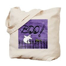 Blue-eyed Halloween Ghost Saying BOO Tote Bag