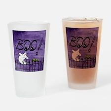 Blue-eyed Halloween Ghost Saying BO Drinking Glass