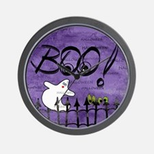 Blue-eyed Halloween Ghost Saying BOO Wall Clock