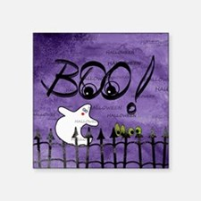 """Blue-eyed Halloween Ghost S Square Sticker 3"""" x 3"""""""