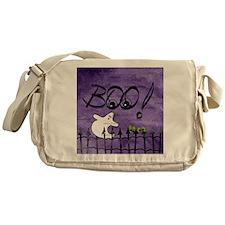 Blue-eyed Halloween Ghost Saying BOO Messenger Bag