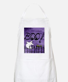 Blue-eyed Halloween Ghost Saying BOO Apron