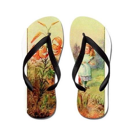 Alice in Wonderland Garden vintage art Flip Flops