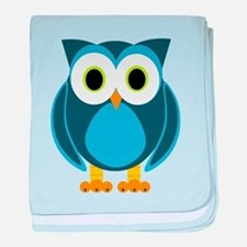 Cute Blue Cartoon Owl baby blanket