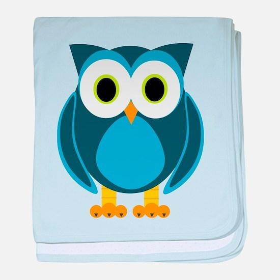 Cute Blue Cartoon Owl baby blanket