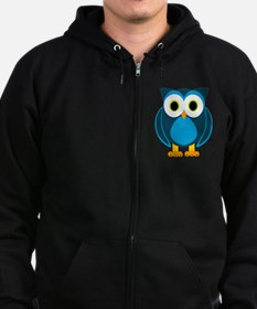 Cute Blue Cartoon Owl Zip Hoodie