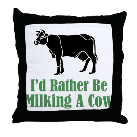 Milking a Cow Throw Pillow
