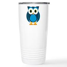 Cute Blue Cartoon Owl Travel Mug