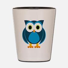 Cute Blue Cartoon Owl Shot Glass