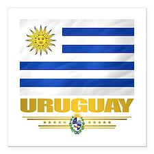"Uruguay Flag Square Car Magnet 3"" x 3"""