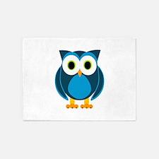 Cute Blue Cartoon Owl 5'x7'Area Rug