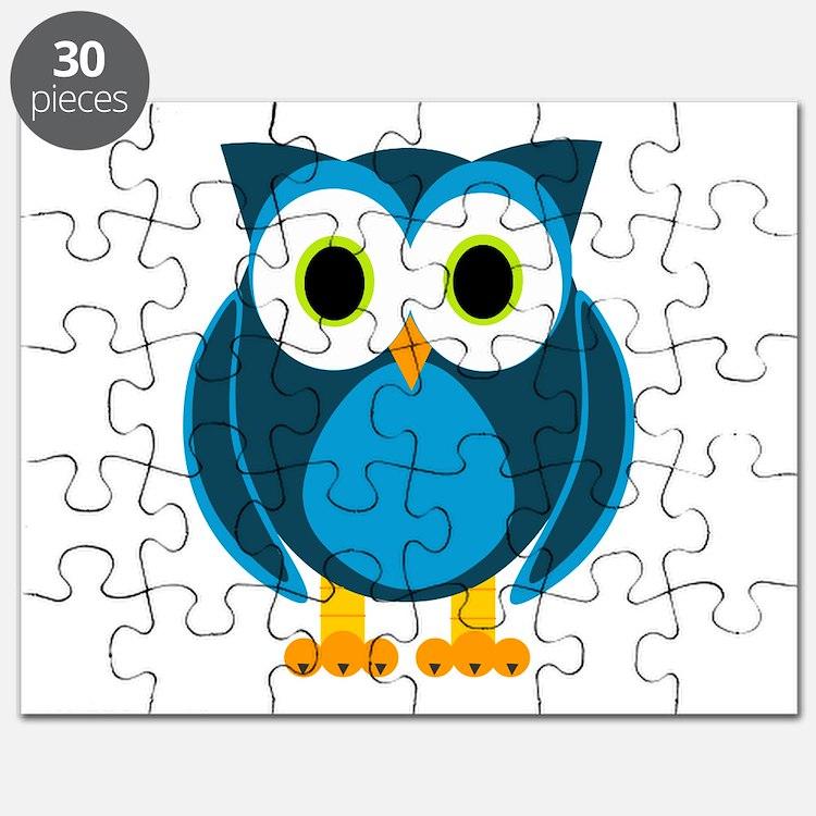 Cute Blue Cartoon Owl Puzzle