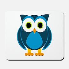 Cute Blue Cartoon Owl Mousepad