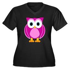Cute Pink Cartoon Owl Plus Size T-Shirt