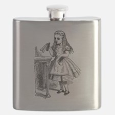 Drink Me Alice in Wonderland vintage art Flask