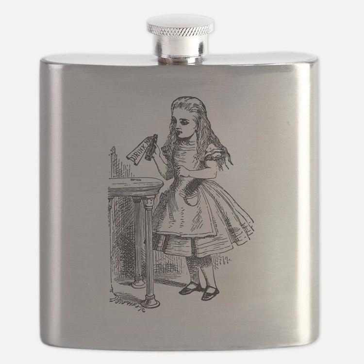 Drink Me Alice in Wonderland vintage art Flask