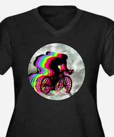 Cycling in t Women's Plus Size Dark V-Neck T-Shirt