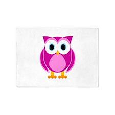 Cute Pink Cartoon Owl 5'x7'Area Rug