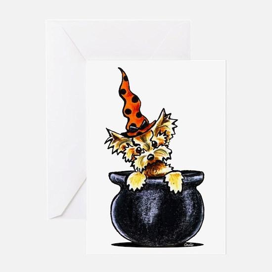 Yorkie Witch Greeting Card