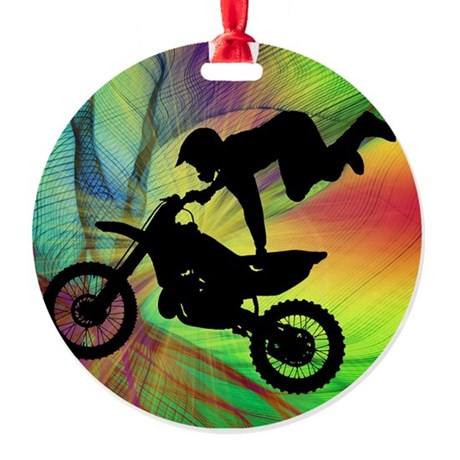 Motocross in a Psychedelic Spider W Round Ornament
