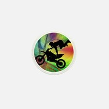 Motocross in a Psychedelic Spider Web Mini Button