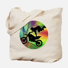 Motocross in a Psychedelic Spider Web Tote Bag
