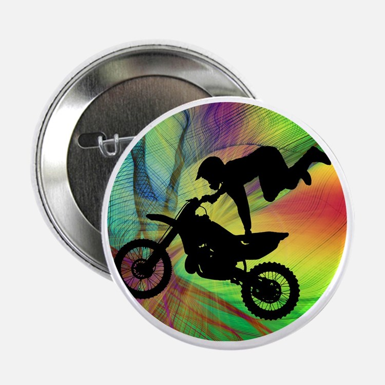 "Motocross in a Psychedelic Spider Web 2.25"" Button"