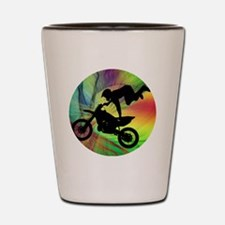 Motocross in a Psychedelic Spider Web Shot Glass