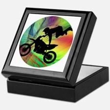 Motocross in a Psychedelic Spider Web Keepsake Box