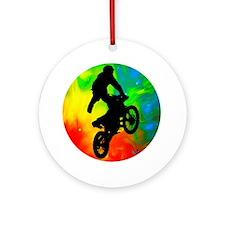 Motocross in a Solar Meltdown Round Ornament