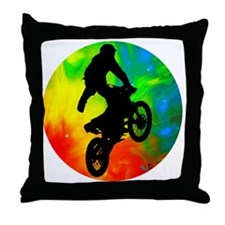 Motocross in a Solar Meltdown Throw Pillow