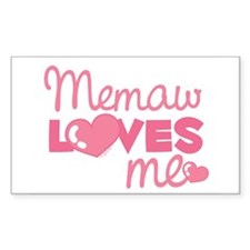 Memaw Love Me (pink) Rectangle Decal