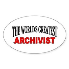 """""""The World's Greatest Archivist"""" Oval Decal"""