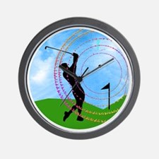 Golf Swing on the Links Wall Clock