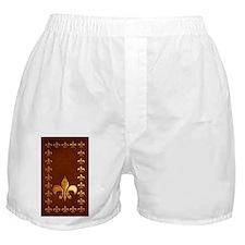 Old Leather with gold Fleur-de-Lys Boxer Shorts