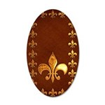 Old Leather with gold Fleur-de-Lys 20x12 Oval Wall