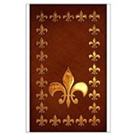 Old Leather with gold Fleur-de-Lys Large Poster