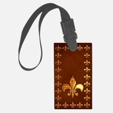 Old Leather with gold Fleur-de-Lys Luggage Tag