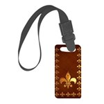 Old Leather with gold Fleur-de-Lys Small Luggage T
