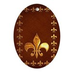Old Leather with gold Fleur-de-Lys Ornament (Oval)
